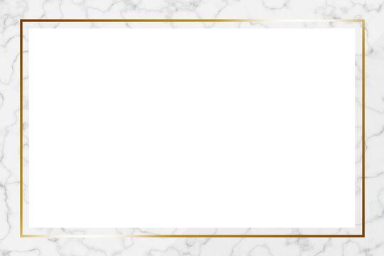 高級感のある大理石フレーム 長方形 ホワイト&ゴールド