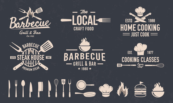 BBQ and Cooking Class emblem set.   6 emblems and 15 elements for own design. Cooking and Kitchen logo with knives, chef hat. Grill logo with Fork and Spatula. Vector illustration