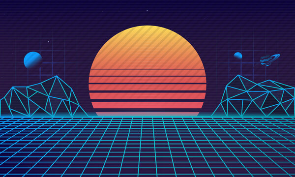 Retro futuristic 80's background. Retrowave background with retro sun, laser grid and cyber mountains. Vaporwave aesthetic. Vector illustration