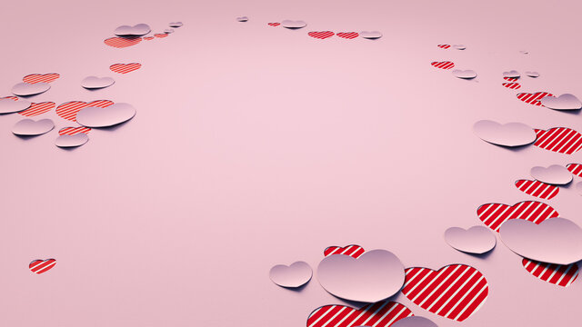 Paper Heart background. Pink and Red striped Valentine Wallpaper with cut-out love hearts. 3D Render