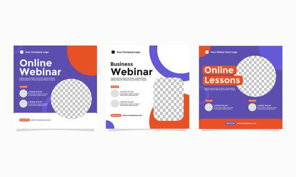 Set of Webinar Poster Design. Good for Social Media Post Template, Webinar, Seminar, Invitation Banner, Poster Education, Flyer, Online Class, Ads, etc
