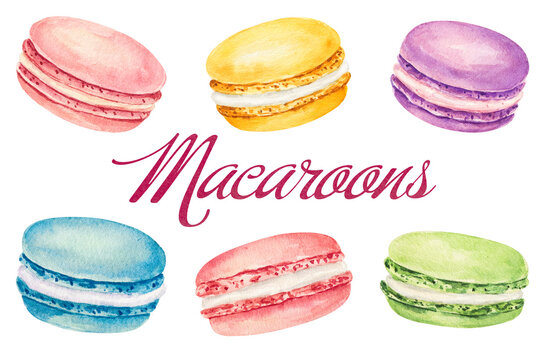 Set of watercolor macaroons isolated on white background. Hand drawn watercolor illustration.