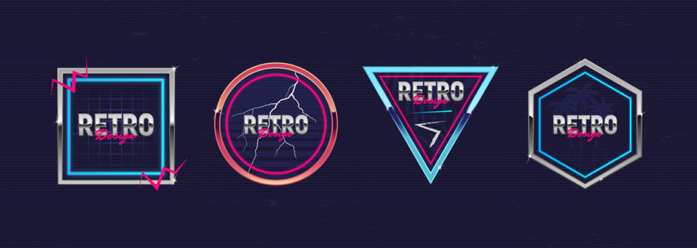 Retro futuristic neon frames. Outrun design elements. Hipster design. Retro 80's logos set for Night club, music album, invitation, banner, poster, cover. Print for t-shirt, tee. Vector illustration