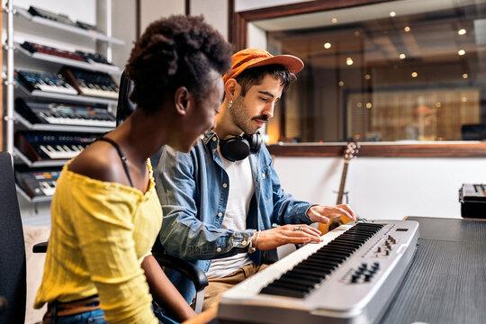 Recording Song in Music Studio