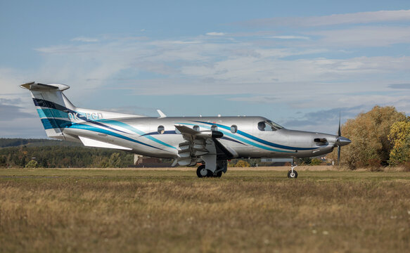 PRIBRAM, CZECH REPUBLIC - 1 October 2019. The PILATUS PC-12 NG turboprop commercial aircraft is taxiing on the runway.
