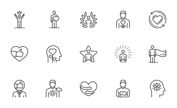 Set of Vector Line Icons Related to Self-esteem. Self-acceptance, Self-respect, Self-development. Editable Stroke. 64x64 Pixel Perfect.