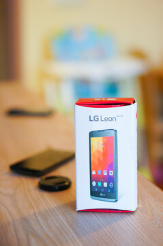 POZNAN, POLAND - Mar 02, 2016: LG Leon phone in a box