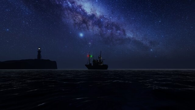 Lighthouse and boat at nighttime, amazing sky full of stars