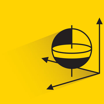 gyroscope with drop shadow yellow background