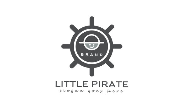 Little pirate logo design in dark gray color. isolated white logo template. vector