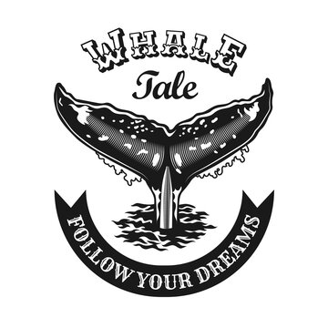 Engraving black emblem with whale tail. Monochrome design elements with whale tail and text. Underwater animals or wildlife concept for travel agency stamp, label, sign template