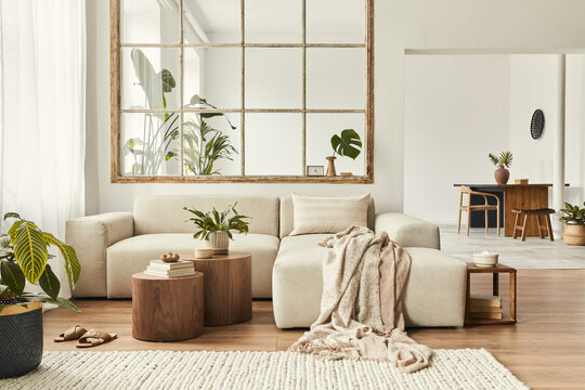 Modern interior of open space with design modular sofa, furniture, wooden coffee tables, plaid, pillows, tropical plants and elegant personal accessories in stylish home decor. Neutral living room.