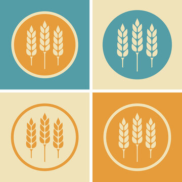 Cereal vector icon, agricultural set