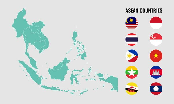 Vector illustration of 10 ASEAN Countries map and round flag. Malaysia, Indonesia, Thailand, Philippines, Vietnam, Myanmar, Cambodia, Laos, Singapore and Brunei. South East Asia