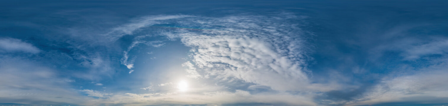 Sky panorama with Altocumulus clouds in seamless spherical equirectangular format. Complete zenith for use in 3D graphics, game and composites in aerial drone 360 degree panoramas as sky dome