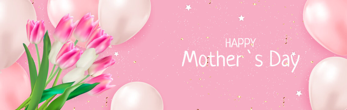 Happy Mother`s Day Card with Realistic Tulip Flowers. Template for advertising, web, social media and fashion ads. Poster, flyer, greeting card, header for website Vector Illustration.