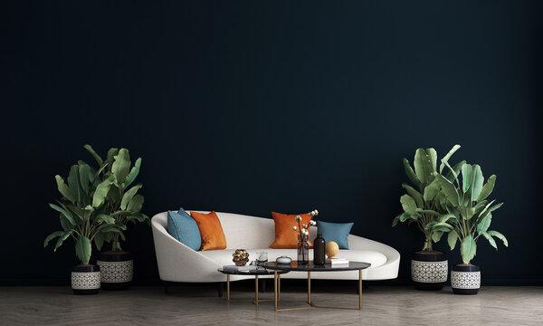 The Mock up furniture design in modern interior background, living room, Scandinavian style, 3D render, 3D illustration