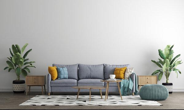The Mock up furniture design in modern interior background, minimal living room, Scandinavian style, 3D render, 3D illustration