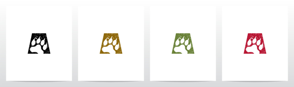 Paw Print With Claws On Letter Logo Design A