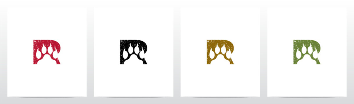 Paw Print With Claws On Letter Logo Design R