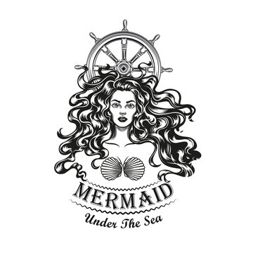 Mermaid and sailing rudder tattoo design. Monochrome element with girl in seashell bra vector illustration with text. Sea or sailing concept for symbols and labels templates