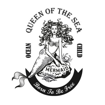 Mermaid on stone emblem design. Monochrome element with girl with fishtail vector illustration with text. Sea or sailing concept for symbols and labels templates