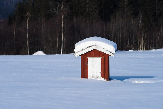 Small shed on a snowy field.