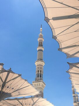 One Of The Tower Of The Grand Mosque In Medinah