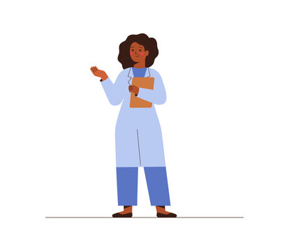 Black female doctor in medical uniform pointing and showing smth with hand. Confident African American woman medicine worker explaining and presenting something. vector flat illustration.