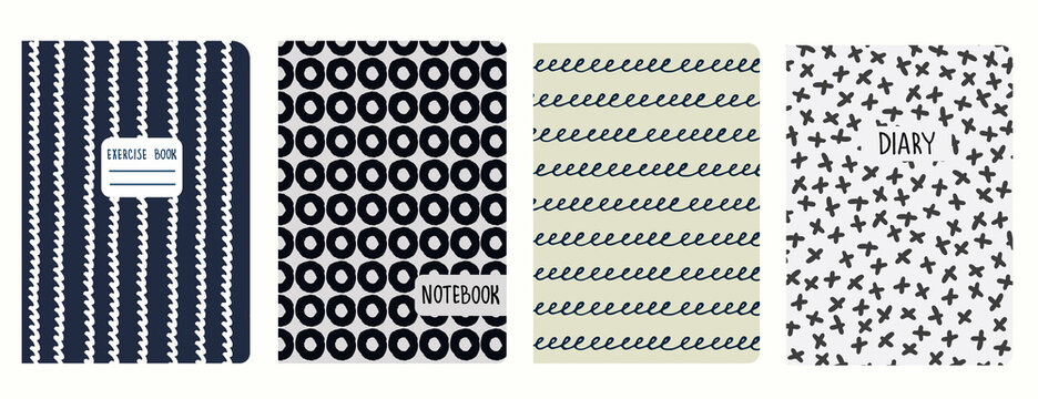 Cover page templates with hand drawn circles, asterisks, waves, spiral lines. Based on seamless patterns. Handwriting imitation. Headers isolated and replaceable. Perfect for school notebooks, diaries