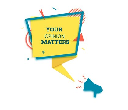 Your opinion matter badge in paper cut style. Leave a review layered labels with loudspeaker. Rectangular yellow speech bubble in memphis retro design. Vector illustration of sticker with megaphone.
