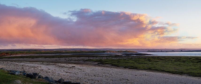 Winter sunrise landscape of the Skern area of Northam Burrows, near Appledore, North Devon.