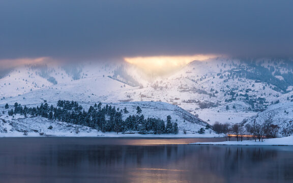 Winter sunset at Horsetooth Reservoir in Fort Collins, Colorado