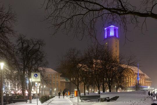 Rathaus Spandau im Winterzeit. Berlin. Deutschland