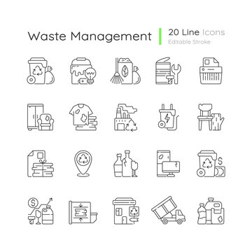 Waste management linear icons set. Residential waste collection. Paper shredding. Grass clippings. Customizable thin line contour symbols. Isolated vector outline illustrations. Editable stroke