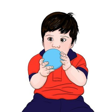 Cartoon of a little boy in a red shirt and blue pants playing with a light blue ball with a funny expression on a white background.