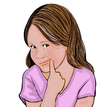 Cartoon of a cute little girl with light brown hair wearing a pink shirt depicted with a funny forced smile on a white background.