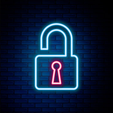 Glowing neon line Open padlock icon isolated on brick wall background. Opened lock sign. Cyber security concept. Digital data protection. Safety safety. Colorful outline concept. Vector.