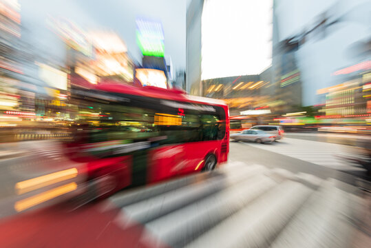 Tokyo, Japan - Janury 17, 2016: An abstract view  of the most famous crossings in Tokyo, the Shibuya crossing in Tokyo's shopping district.