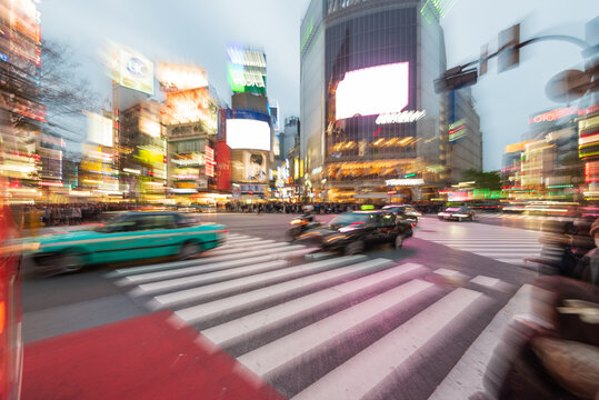 Tokyo, Japan - Janury 17, 2016: An abstract view  the most famous crossings in Tokyo, the Shibuya crossing in Tokyo's shopping district.