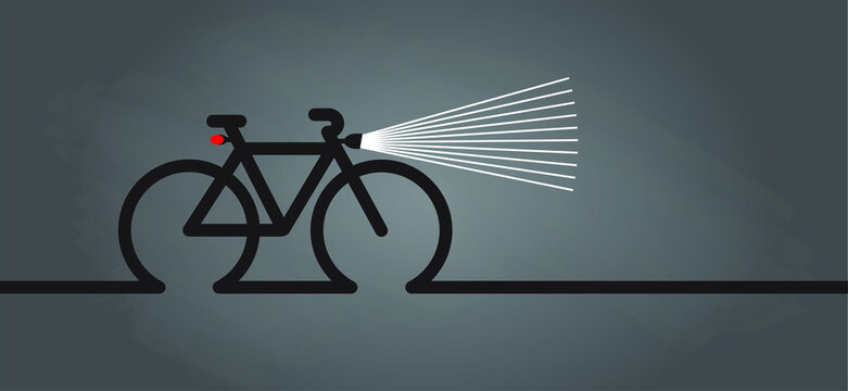Cycling in the dark, with bicycle lights. World Bicycle day. Sport cyclist banner, walppaper or card. Funny vector bike signs. Sports symbol. Clipart cartoon logo.