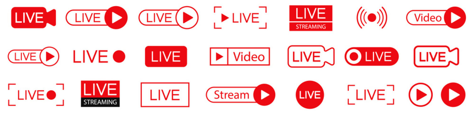 Live Streaming icons collection.  Live icons.  Streaming, broadcasting. Red buttons Live Stream. Stock vector