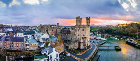 Aerial view of Caernarfon Castle, a medieval fortress in Caernarfon, Gwynedd, north-west Wales