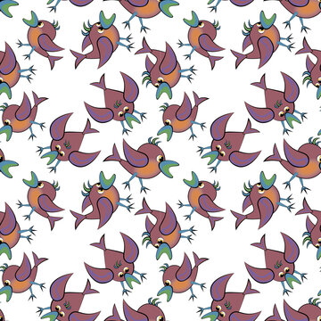 Seamless texture, pattern on a square background - birds