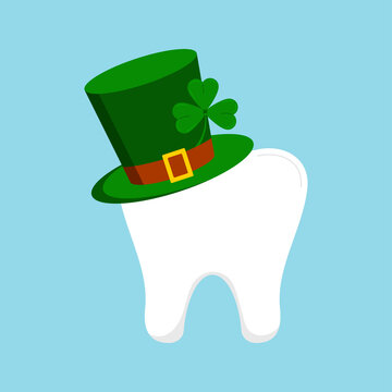St Patrick day tooth in green leprechaun hat with clover shamrock. Dental molar tooth irish character with gnome cylinder hat. Flat design cartoon style dentist celebration vector illustration.