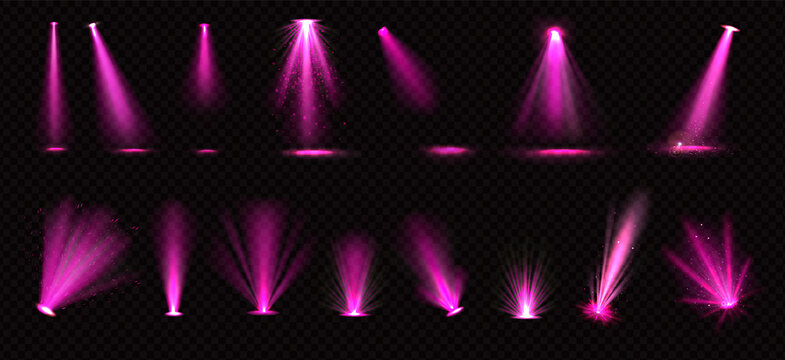 Pink spotlights beams and floor projectors Transparent png background illustration