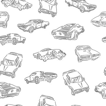 Monochrome muscle car seamless pattern. Jumping rally car, oldschool cars print. Vector illustration.