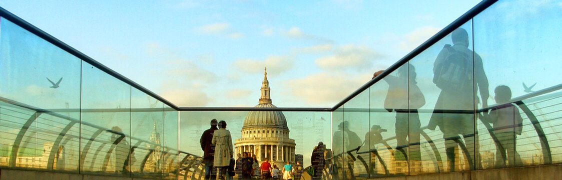 Panoramic View Of People At Millennium Bridge With St Paul Cathedral Against Sky