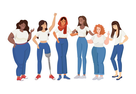 Group of standing women of different sizes and races vector flat illustration. Skinny and curvy women, woman with prosthesis. Girl power, International Woman Day, Feminism, body positive concept.