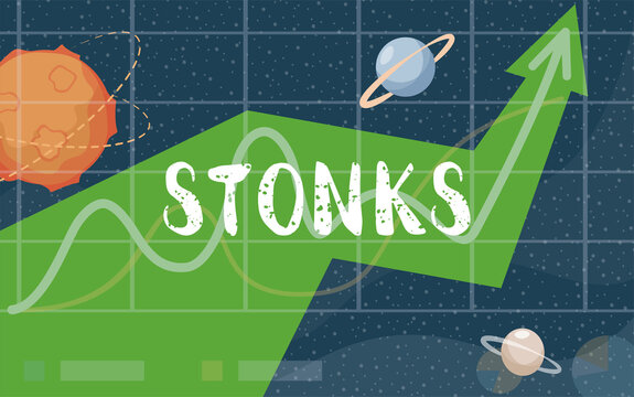 Stonks vector flat banner design. Bad financial decisions, amateur financial strategy, unprofessional investing concept. Green arrow growing up, cosmos background with stars and planets.